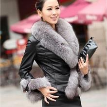HOT SALE !2014 Winter New Products Female Fur Coat Slim Full Sleeve Leather Jackets Blazer Women Fox Fur Outerwear (China (Mainland))