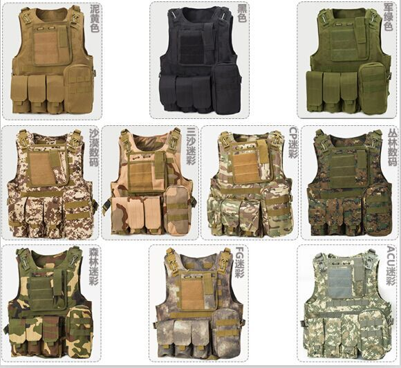 USMC Airsoft Tactical Military Molle Combat Assault Plate Carrier Vest Tactical vest 10 Colors CS outdoor clothing Hunting vest(China (Mainland))