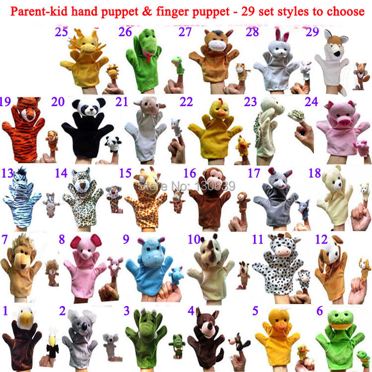 2pcs/set /lot, Baby Plush Toy Finger Puppets + hand Talking Props, 29 style animals choose, t - JNJ Co. store