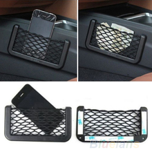 Unusual Universal Car Seat Side Back Storage Net Bag Phone Holder Pocket Organizer Black 91HP(China (Mainland))