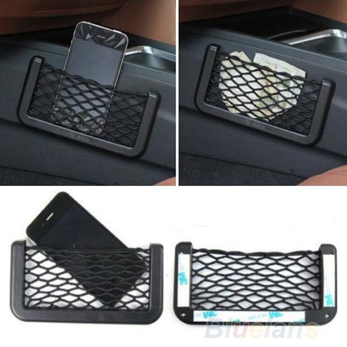 Unusual Universal Car Seat Side Back Storage Net Bag Phone Holder Pocket Organizer Black 91HP(China (Mainland))