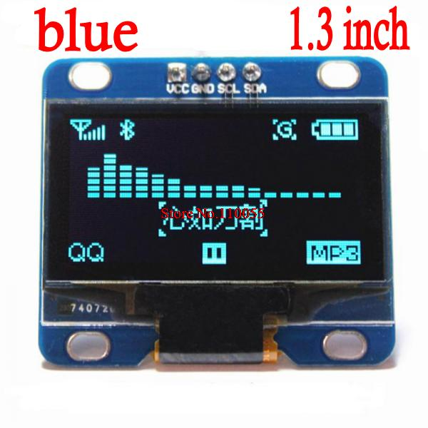 """5pcs/lot blue and white color 128X64 1.3 inch OLED LCD LED Display Module For Arduino 1.3"""" IIC SPI Communicate(China (Mainland))"""