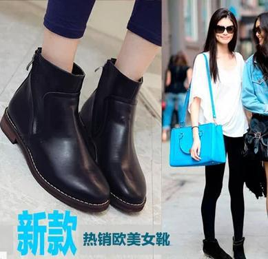 14 European and American dual zipper Martin boots with naked female knight boots work women(China (Mainland))