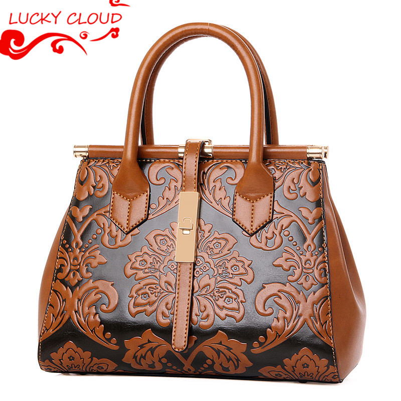 National Ethnic Embossing leather bags ladies handbags women famous brands 2016 New Vintage crossbody bags for women bolso mujer<br><br>Aliexpress