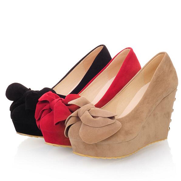 women pumps fashion sexy wedges high heels Platform pumps PU leather ladies round toe wedding shoes woman Platform pumps<br><br>Aliexpress