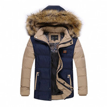 Youth Boys Winter Coats New Hooded Detachable Winter Men Slim Student Style Shorts Thick Fur Collar Down Jacket Yellow/White/Red