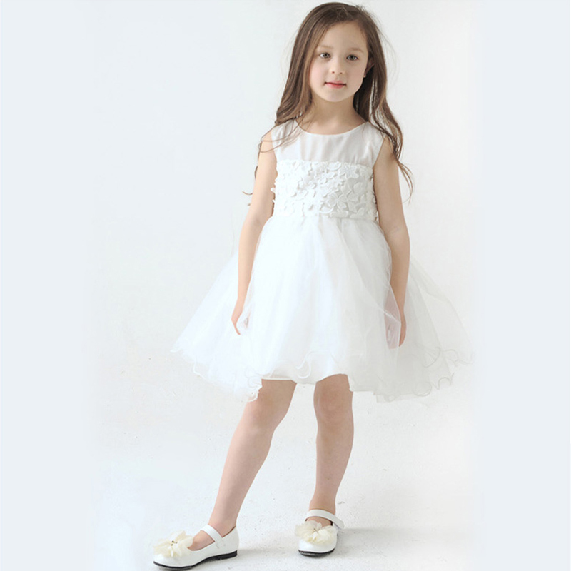 Girl Lace Wedding Dress Bow Party Kids Dresses Girls Children Sleeveless Butterfly Pleated Babydoll - Hiku House Children's Fashion store