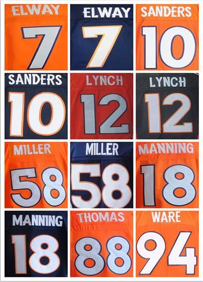7 John Elway 12 Paxton Lynch Peyton Manning 58 Von Miller 10 Emmanuel Sanders 88 Demaryius Thomas Elite 100% Stitched jersey(China (Mainland))