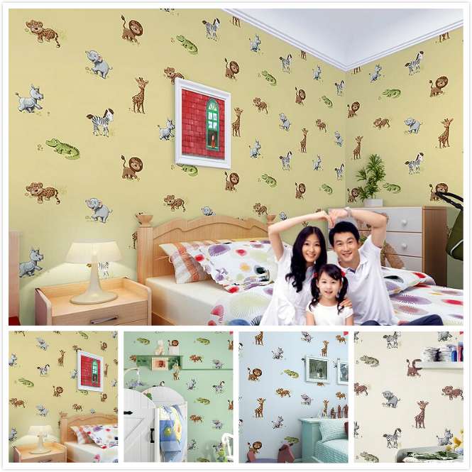 Modern Cartoon Mural Wallpaper For Kids Room Green Non-woven Wallpaper Roll Bedroom Wall Paper Cartoon Papel De Parede infantil