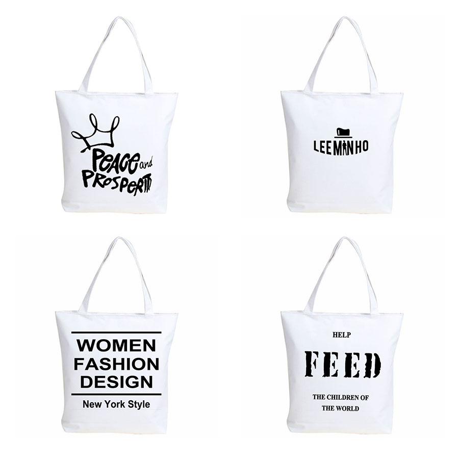 2016 Unisex Letters Printed Casual Canvas Tote Large Capacity Shoulder Bag Fashion Shopping Young Handbags(China (Mainland))