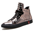 men casual shoes shiny leather gun metal color high top plain shoes rivet man s quality