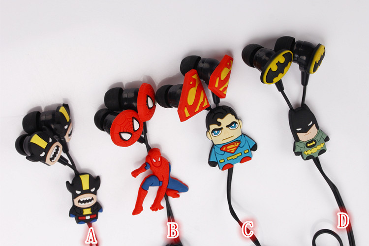 New cartoon earphones 12 style Avengers in-ear 3.5mm jake headset stereo MIC headphones for iphone 5 5s Nokia(China (Mainland))