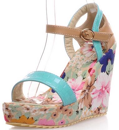 ENMAYER new Spring shoes Women pumps Vintage Ankle Straps High Heels Wedges Shoes Open Toe Platform pumps<br><br>Aliexpress