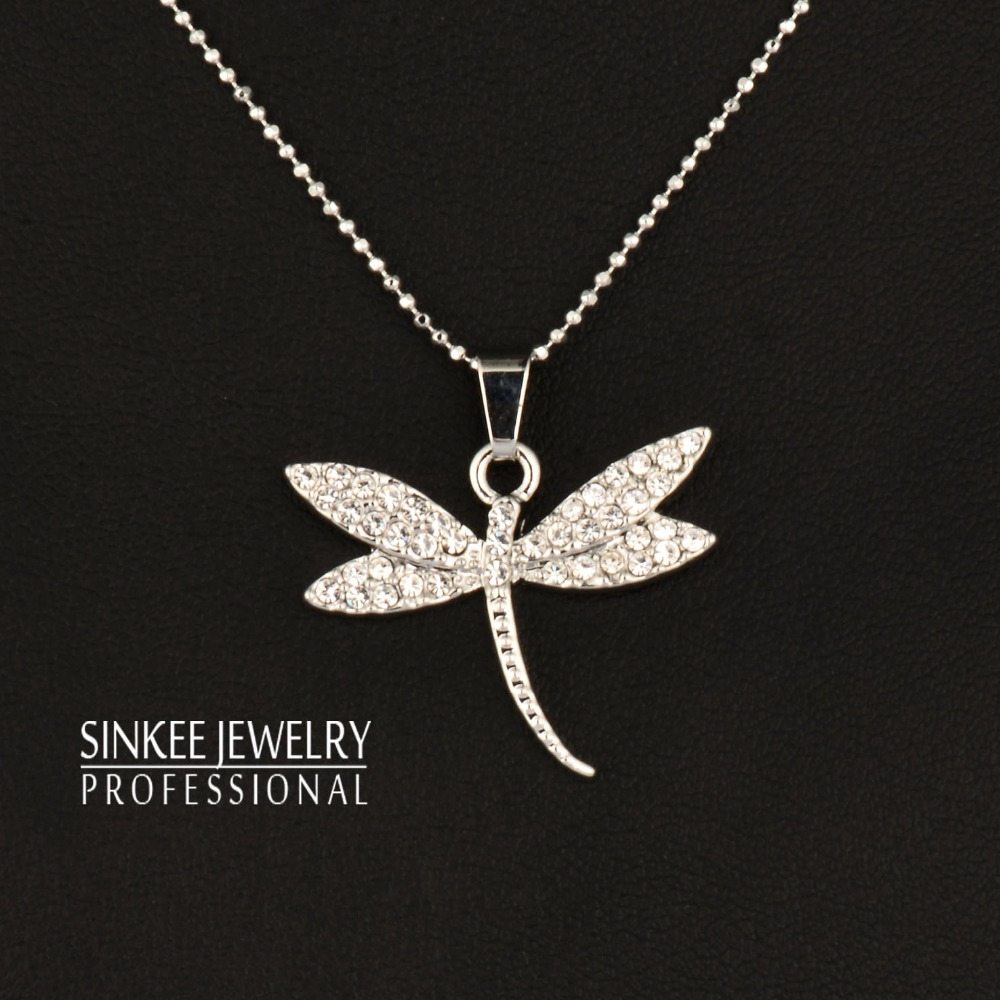 New Design Rhinestone Dragonfly Pendant Necklace Chain Silver Choker Necklace For Women Jewelry XL626(China (Mainland))