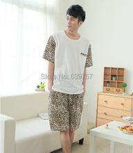Mens Pyjamas Summer 2015 New Fashion Leopard Printed 100% Cotton Free Shipping(China (Mainland))