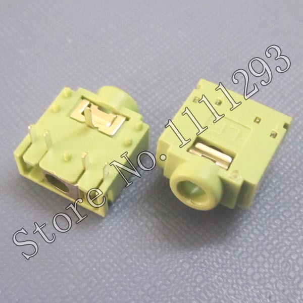 10pcs/lot 5-pin Audio Jack Connector for Desktop Chassis , Sound Box , All-in-one PC Headphone Port - Normal Open Green(China (Mainland))