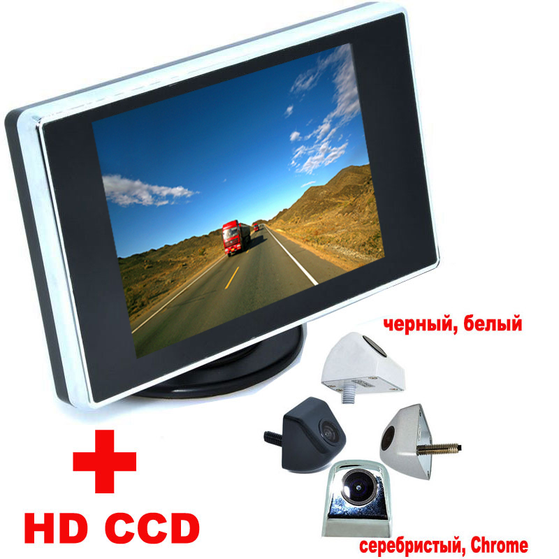 "3.5"" Color LCD Car Video Monitor + 4 colors Univesal Night Vision Car CCD Rear View Camera backup Camera Auto Parking Assistance(China (Mainland))"