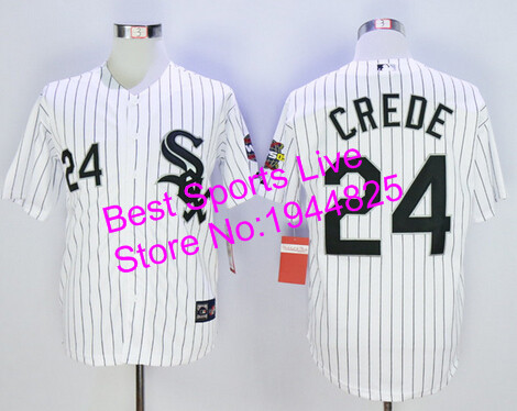 Joe Crede jersey Chicago WhiteSox #24 Joe Crede Men's New Stitched white Baseball jersey cheap Authentic shirt(China (Mainland))