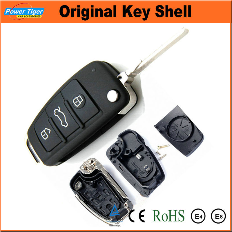 3 Buttons Orignal Folding Blank Key Remote Case Shell For Audi A6 A4 Remote Key Case QC319B-1(China (Mainland))