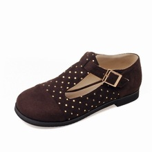 Plus size 52 51 50 49 leisure patchwork lady flats rivets design buckle strap women shoes high-quality PU low heel zapatos mujer(China (Mainland))