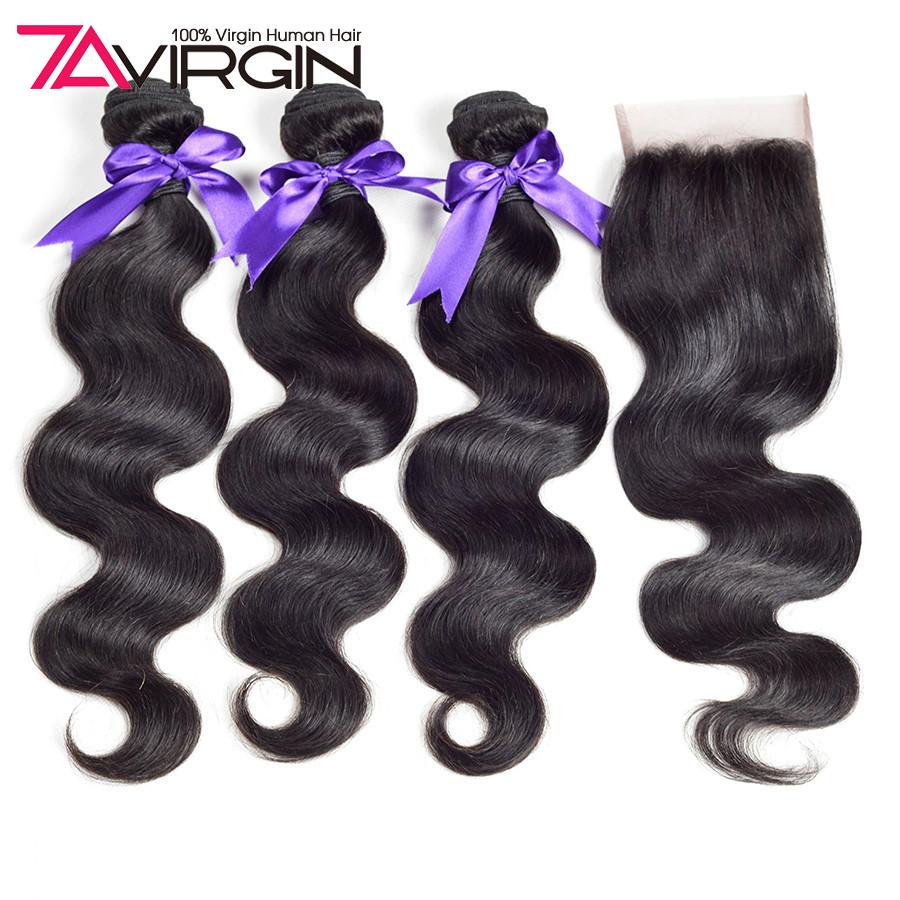 4 bundle Brazilian hair weave bundles with closure Brazilian virgin hair with closure body wave virgin hair bundles with closure<br><br>Aliexpress