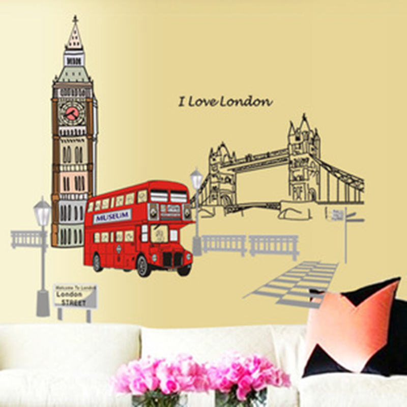 London Buses Wall Stickers Living Room Stickers Style Wall Stickers Design PVC Wall Decals DA(China (Mainland))