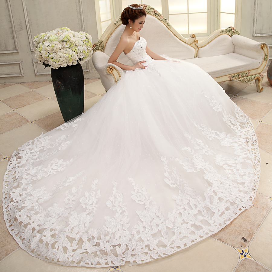 Bride lace white wedding dress formal 2013 princess long trailing luxury tube top diamond embroidery - Sunday store