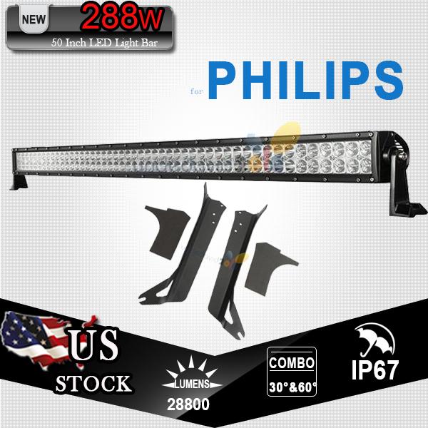 For PHILIPS Chips 288W 50 Inch LED Light Bar Set Offroad Combo Beam + Bracket For Jeep Wrangler TJ 1997-2006 ATV SUV UTV 4X4 4WD(China (Mainland))