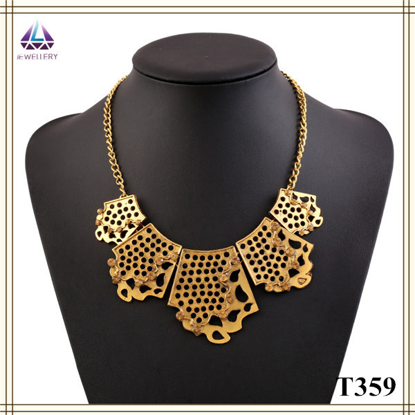 China Wholesale Cheap Magnetic Simple Antique Gold Plating Necklace Statement Designs(China (Mainland))