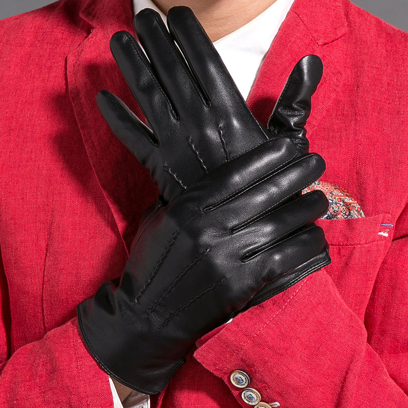 Winter Mens Genuine Leather Gloves Goatskin Warm Classic Fashion Mittens Motorcycle Driving Guantes Hombre STGE020  -  CF Online Store(Factory Outlet store)