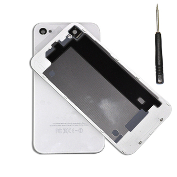 Бесплатная доставка OEM крышка батарейного отсека для iPhone4 4S задняя крышка дверь задняя панель листового стекла замена жилищного черный / белый с инструментом