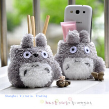 Super Kawaii MY Neighbor TOTORO Plush Cover DOLL ; Phone Stand Holder Pouch Case RACK DOLL & School Desk Pen Pencil Holder BOX(China (Mainland))