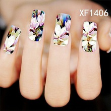 Water Transfer Nail Art Stickers Decal Elegant Lady Beauty Colorful Flowers Design DIY French Manicure Foils Stamping Tools