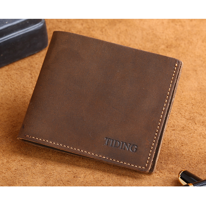 Tiding Leather Money Clip Men Retro Purse Top Quality Soft Leather Front Pocket Wallet 4095(China (Mainland))