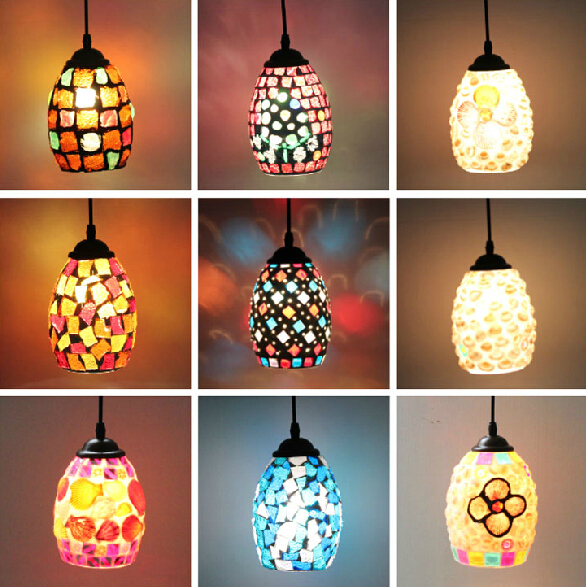 Bohemian Style Colorful Mosaic Glass Shell Pendant Light Cafe Restaurant lamp(China (Mainland))