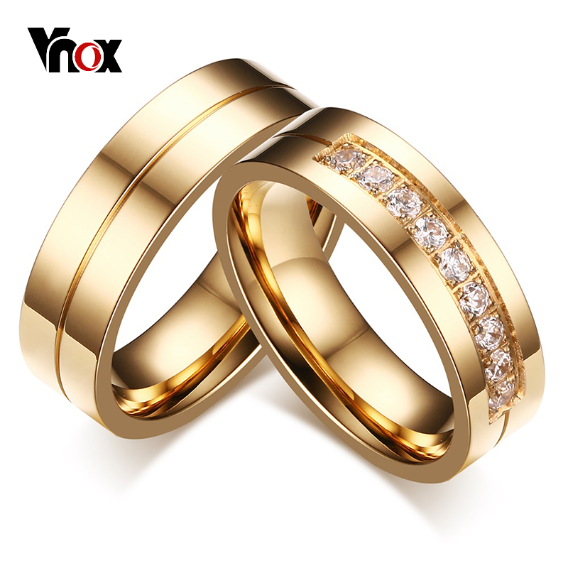 vnox 1 pair wedding rings for women men couple promise band stainless steel anniversary engagement jewelry - Wedding Ring Prices