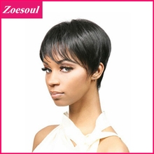 Heat Resistant 1PC Synthetic Short Hair Wigs For Women Black Piexie Cut Wig With Side Fringe Bangs Anime Cosplay Wig AW115