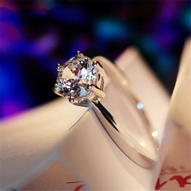 White Sapphire Six Claw Rings For Female Wedding Band 10K White Gold Filled Women's Engagement CZ Diamond Ring Size 5-12 RW1056(China (Mainland))