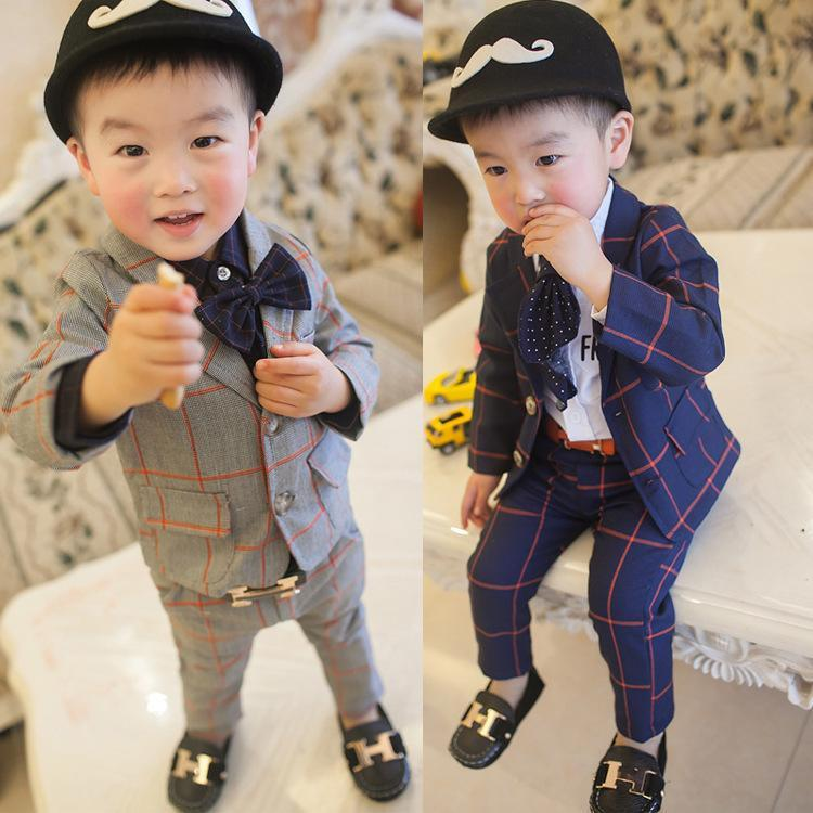 2016 New Children Clothing Set England Kid Clothes Gentleman Boy Party/Wedding Suits Baby Boy Formal Plaid Long-sleeved Sets(China (Mainland))