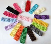 "1.6"" width baby crochet elastic headband crochet  hair bands children hair accessories 33 colors(China (Mainland))"