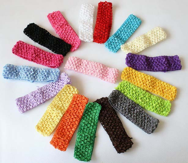 "1.6"" width baby crochet elastic headband crochet bands children hair accessories 33 colors(China (Mainland))"