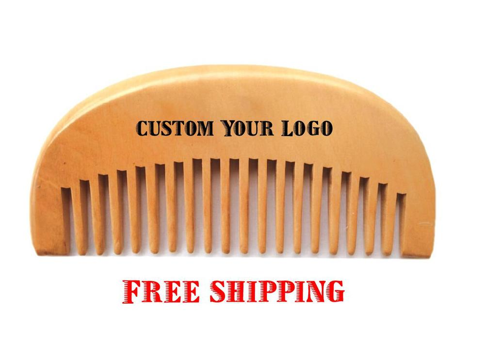 Custom Your Logo Durable Wooden Combs Handmade Cherry Beard Comb Wide Teeth New Wooden Hair Comb FH-06(China (Mainland))