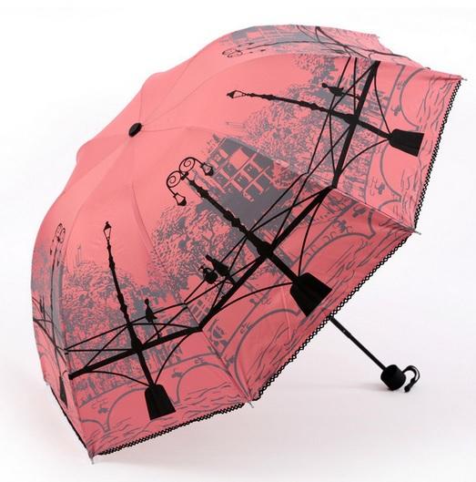5 Colors Sunny Rain Women Umbrella Scenery Light Building Pictures Print High Quality Sunshade Umbrellas(China (Mainland))