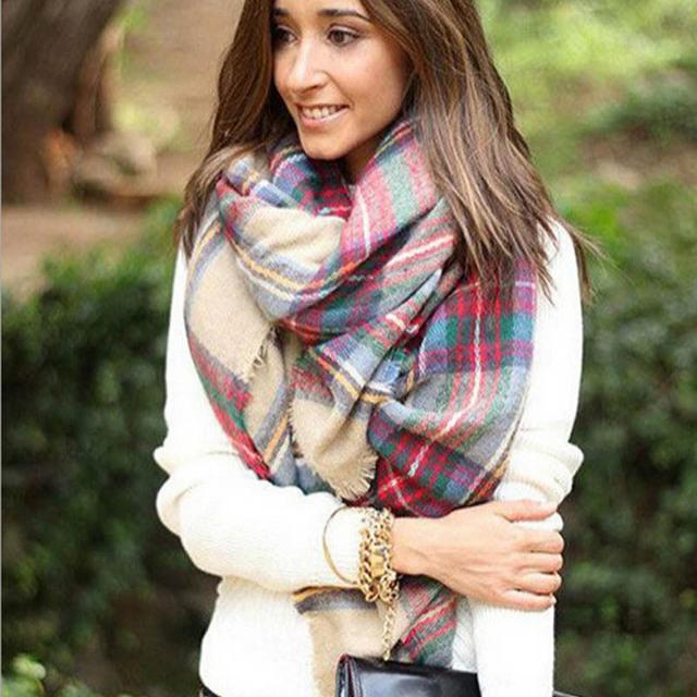 2016 высокое шарфа платок плед уютный проверено женщины леди одеяло негабаритных шотландка бесплатная доставка