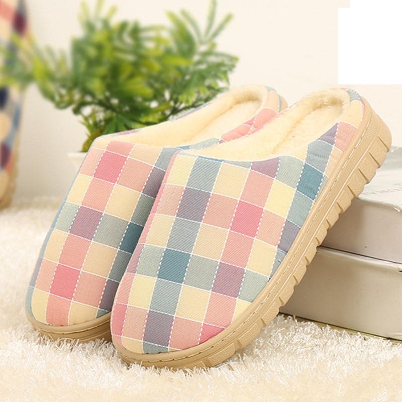 New 2015 Autumn&amp;Winter Lover Warm Cotton-padded Women&amp;Men Covered Heel Soft Short Plush Plaid At Home Slippers Indoor Shoes<br><br>Aliexpress