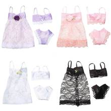 Buy 3PCS/Set Colorful Sexy Pajamas Lingerie Nightwear Lace Night Dress + Bra + Underwear Clothes Barbie DollSkirt Clothes