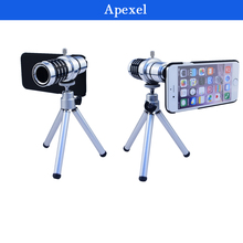 Buy Apexel Lens kit 12X Telescope zoom Lens Tripod black case iPhone 6 4.7inch Manual Focus 12X Telephoto Lens LX-12XIP6 for $16.09 in AliExpress store