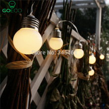 1X Led Solar Powered Led String Light 3M 10 G50 Bulb Waterproof Globe Led String Lights for Fence/Patio/Yard/Garden White/Warm(China (Mainland))