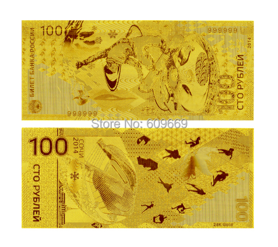 24k Gold Banknote Olympic Winter Russia 100 Rouble Money Design Collection(China (Mainland))