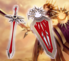 Buy LOL Hot League Game Key Ring Leona's Sword & Shield Model Keychain Radiant Dawn Weapon Toy Accessories Jewelry Collection for $2.65 in AliExpress store